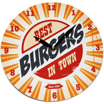 "Wall Clock from Wood - "" Best Burgers in town "" - Ø 29 cm Large - Schleichendes"