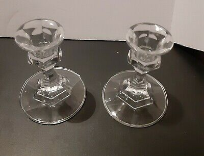 Glass Candelstick set of two