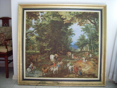 RARE Large Framed Tapestry Needlepoint Embroidery Picture Antique Look