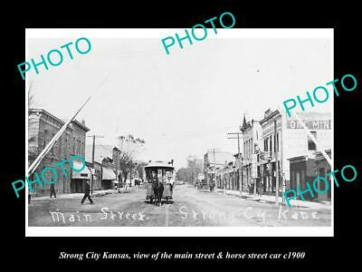 OLD POSTCARD SIZE PHOTO OF STRONG CITY KANSAS THE MAIN ST & STREET CAR c1900