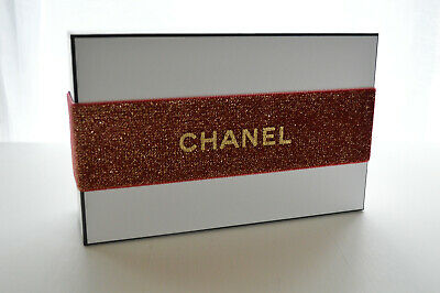 """CHANEL GIFT BOX/Tissue AUTHENTIC Black & White 8""""x5"""" Gold/RED Christmas RIBBON"""