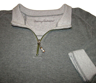 TOMMY BAHAMA Flipsider Half Zip Reversible Sweater XL Embroidered Marlin Cotton