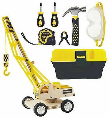 Stanley Jr Toy Tool Set Real Tools for Kids Lifting Crane and Toolbox