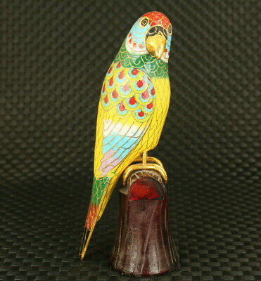 chinese old cloisonne hand casting parrot statue figure home table decoration