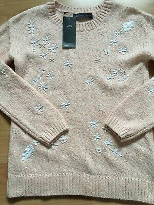 BNWT M&S Marks And Spencer Ladies Collection 6 Peach Flower Embellished Jumper