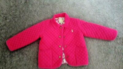 Joules Girls Quilted Padded Pink Jacket Coat Age 2-3 Years