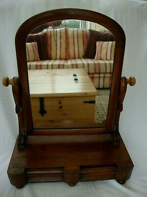 Antique Victorian Mahogany Dressing Table Mirror Two Drawers Free Standing