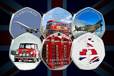 Complete Set of Full Colour Silver Commemoratives GREAT BRITISH DESIGN ICONS