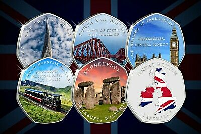 Complete Set of Full Colour Silver Commemoratives GREAT BRITISH LANDMARKS