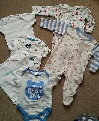 * Baby boy Vests Bodysuits Sleepsuits 3-6 months WHITE blue DOGS cars stars used