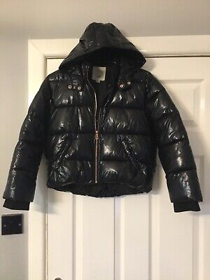 River Island Girls Winter Coat Hooded Black High Shine Quilted Padded Age 9/10
