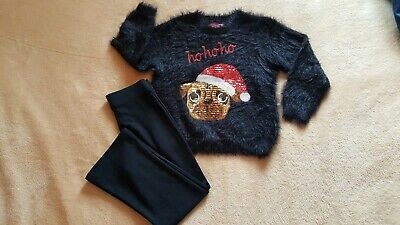 F&F Girls Sequin Dog Christmas Fluffy Jamper School Trousers Bundle Size 5-6 NEW