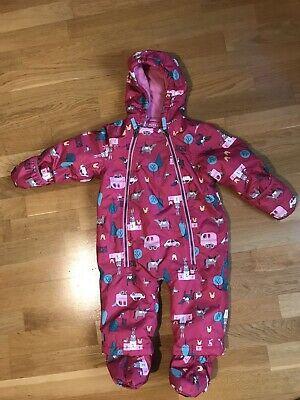 Girls Joules Pink Everly Pony, Animal Pattern Fleece Lined Snowsuit 9-12 Months
