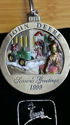 """1999 """"M"""" John Deere Pewter Christmas Ornament Limited Edition"""