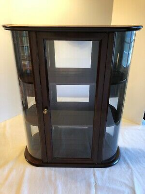 Bombay Company Curved Glass Curio Cabinet 3 Shelf Display Wall Hanging Table Top