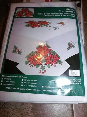 "Tobin Stamped Cross Stitch Tablecloth POINSETTIAS 58"" x 104"" Smooth"