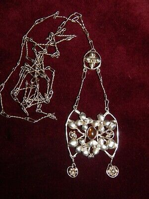 Antique Arts & Crafts Silver & Amber Flower Cluster Long Pendant Necklace