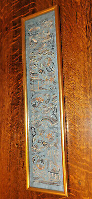 Antique Chinese Embroidered Silk Sleeve With Gold Braid