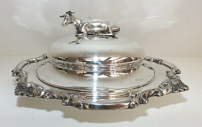 Antique Old Sheffield Silver Butter Dish With Silver Cow Hallmarked 1834