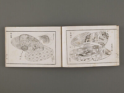 Antique Old Japanese woodblock print book collection of shell designs patterns