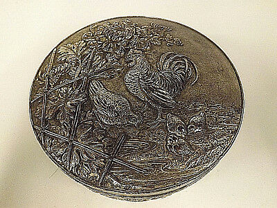 Antique Chinese Silver Washed Pewter Box With Chickens & Chrysanthemums