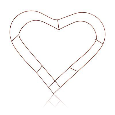 "Wreath Heart Shaped Flat Wire Copper Frame Floristry Crafting Wedding 12"" 15"" 18"
