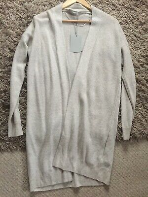 White Company 100% Cashmere Cardigan Silver Grey Marl Size Small BNWT!