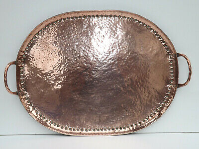 Circa 1890-1900 Large Oval Arts & Crafts Hand Beaten Copper Tray Signed A.P.