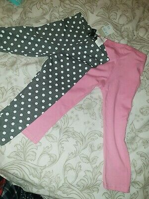Girls Brand New Two Pack Of Leggings Pink & Grey 24 - 36mths