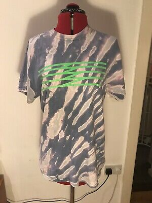 Vintage 90s Tie Dye Purple Neon Green T Shirt Medium