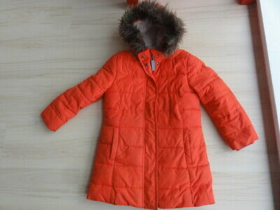 Mini Boden Girls age 5-6 years Winter Coat Fur lined Red Hood Padded parka Snow