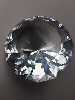 Big 80mm Clear Crystal Paperweight Cut Glass Large Giant Diamond Jewel Gift