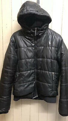 Girls Ladies Superdry Sport Quilted Padded Coat Puffa Jacket Black Size XL