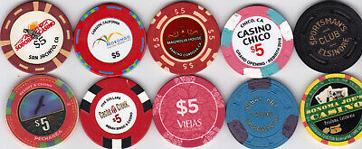 Ten Different $5 California Casinos & Card Rooms Casino Chips-Some Old, Some New