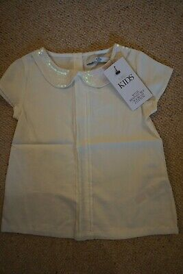 BNWT M&S girls top with sequin collar, age 4-5