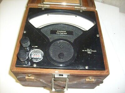 Vintage 1955 Sensitive Research Current Voltmeter Dynamometer model D wood case