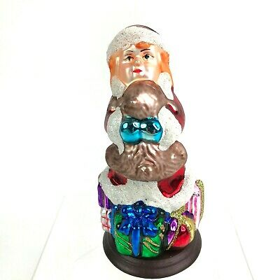 "5.25"" Thomas Pacconi Classics Girl Santa 30th Anniversary Blown Glass 2004"