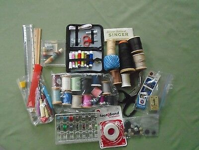 VTG LG Mixed Lot Sewing Notions Supplies Cotton Wood Spools Crafts Coats Clarks