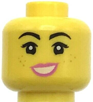 Lego Yellow Minifig Head Dual Sided Female Black brows Freckles Eyelashes Pink L