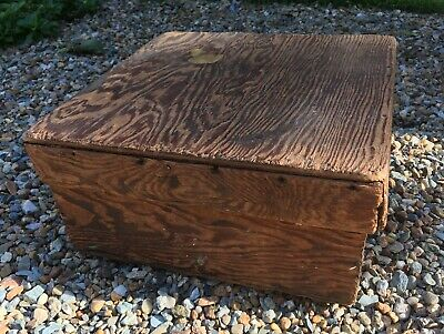 "UNIQUE antique primitive lidded ply wood box 11"" square rustic homemade country"
