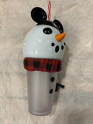 DISNEY PARKS 2019 CHRISTMAS LIGHT UP MICKEY SNOWMAN Projector Tumbler
