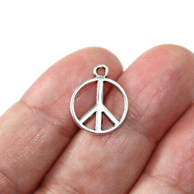20 Peace Sign Charms Peace Symbol 2 Sided Charms Antique Silver Tone 16x20 1364