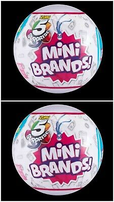TWO of 5 SURPRISE! MINI BRANDS BALLS MADE BY ZURU! 100% REAL AUTHENTIC -NEW 2019
