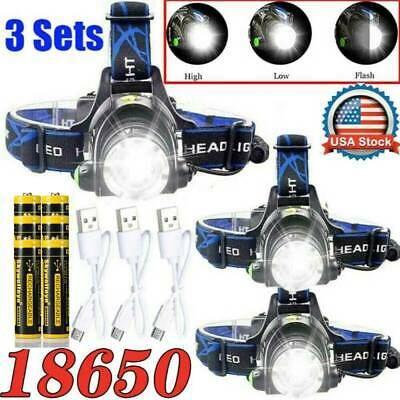Zoomable 350000Lumen T6 LED USB Rechargeable Headlamp 18650 Headlight Head Light