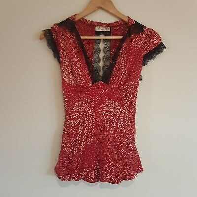 Alannah Hill Size 8 Silk Red and Black Lace Sleeveless Top