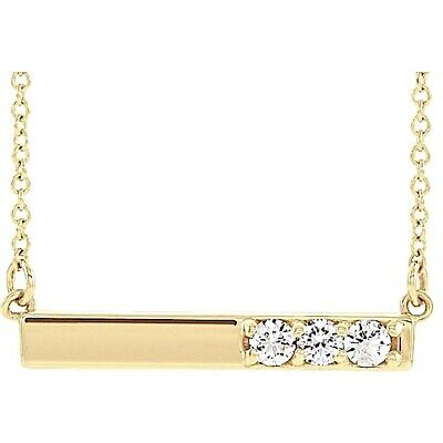 Bar Diamond Necklace 1/5 ctw  G-H Color 14Kt Rose Yellow or White Gold