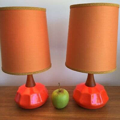 Bedside Lamps Rare Pair Small Vintage Mid Century Retro