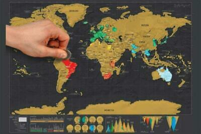 Deluxe Large Scratch Off World Map Poster Personalized Travel Xmas Gift For Kids
