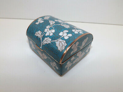 Antique Circa 1910-1920 Chinese Turquoise Cloisonne Casket On Ball Feet