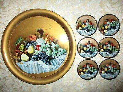 Retro Vintage Metal Tray & 6 Coasters - Fruit Decoration